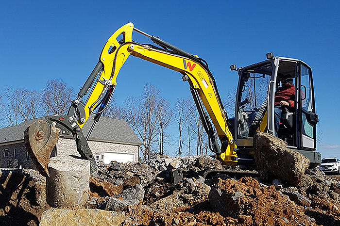 Wacker Neuson EZ36 zero tail compact excavator in action